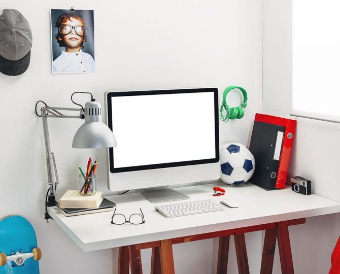 Modern study room for a boy.
